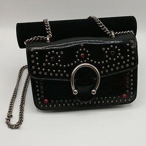 Steve Madden Vintage Studded Horseshoe Black Bag